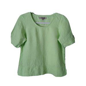 Flax Linear Crop Linen Blouse Tunic Solid Green